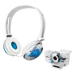 auriculares con microfono y webcam trust urban revolt headset & webcam - evening cool