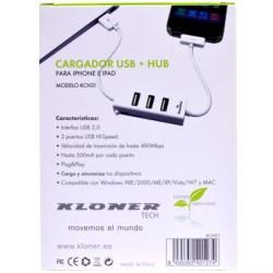 cable kloner para iphone 3/4/4s ipad 2 + 3 ptos. usb2.0