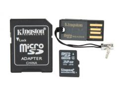 kit micro sd 32gb kingston clase 4 + adaptadores