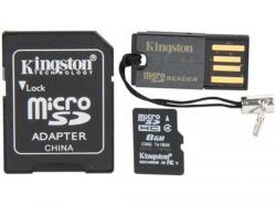 kit micro sd 8gb kingston clase 4 + adaptadores