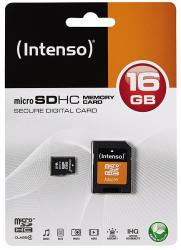 micro sd 16gb intenso clase 4 + adaptador sd