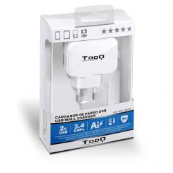 tooq cargador de pared 2 usb blanco
