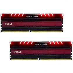 team group t-force delta series led rojo ddr4 2400mhz 32gb 2x16gb cl15