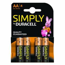 duracell simply lr6 aa (4 unidades)