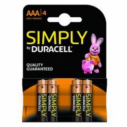 duracell simply lr03 aaa (4 unidades)