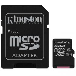 kingston canvas select microsdxc 64gb clase 10 + adaptador sd