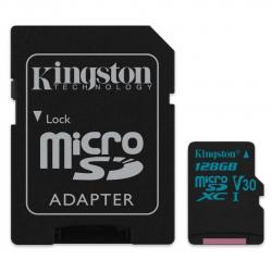 kingston canvas go! microsdxc 128gb clase 10 + adaptador sd
