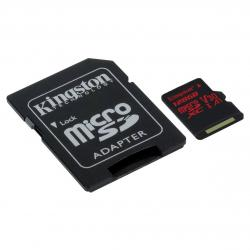 kingston canvas react microsdxc 128gb clase 10 + adaptador sd